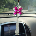 FengShui Pink Crystal Four Leaf Clover Interior Accessories Car Charms Pendants For Auto Rear View Mirror Suspension