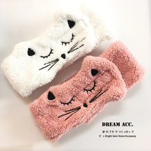 Soft Hairband Facial Mask Hair Band Cute Cat Cartoon Animal Coral Fleece Baby Bands Girl Women Hair Bands Wash Face Hair Band