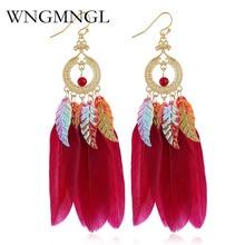 WNGMNGL Ethnic Boho 2018 Women Earrings Colorful Sequins Leaves Feather Tassel Drop Long Bohemia Jewelry Brincos