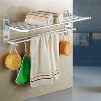 New Bathroom Towel Rack Hanging Bar Multifunctional Bathroom Hardware Towel Bar Fordable 60CM Wall Mounted Bathroom Products