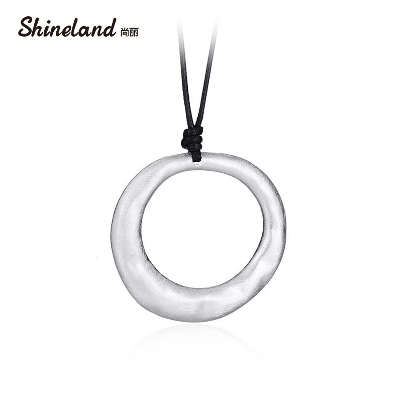 Shineland New Vintage Simple Jewelry Black Leather Round Long Necklace Women Alloy Wire Drawing Pendant Women Friend Gift Bijoux image