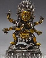 Ev ve Bahçe'ten Statü ve Heykelleri'de [Eski zanaat] Tibet budizm gümüş 6 Arms Vajra mahakala Dorje Vajrapani tanrı buda Heykeli 14 cm