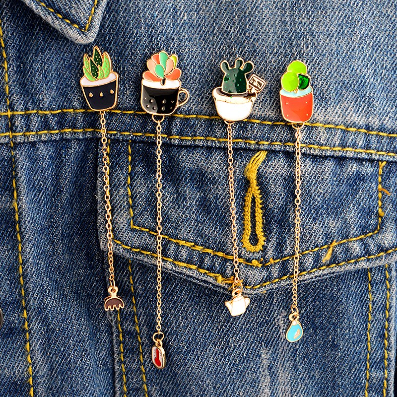 Succulent plants thermometer Water drops kettle cactus pins with chain Hard enamel lapel pins Badges Brooches Cactus jewelry