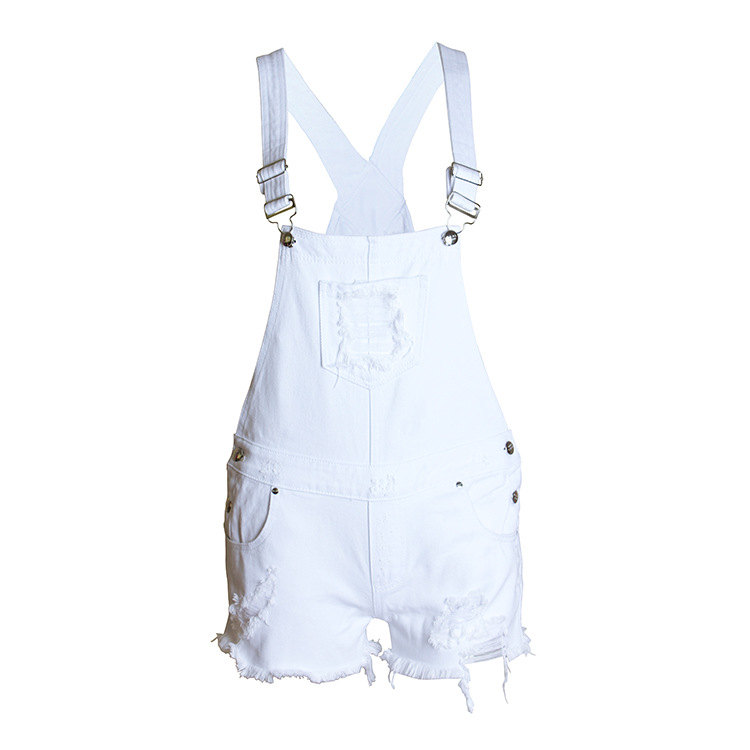 QA867 New arrival women loose white denim overalls girls hole ripped high waist   shorts   jeans feminina