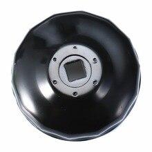 """دائم الأسود الصلب 76 مللي متر 14 المزامير فلتر زيت السيارة غطاء نوع وجع أداة إزالة مع 3/8 """"جوزة مفتاح بطرف تدوير لسيارات BMW AUDI"""