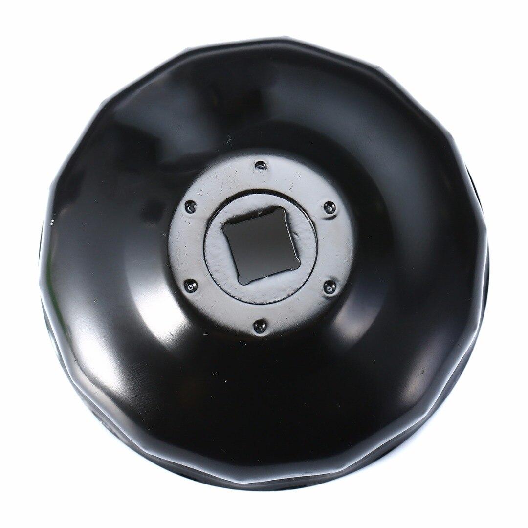 Durable de acero negro 76mm 14mm flautas coche filtro de aceite de tipo Llave removedor de herramienta con 3/8