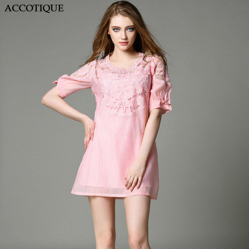 New Spring Summer Women s Embroidery Cute A Line Dress Female Hollow Out Pink O Neck