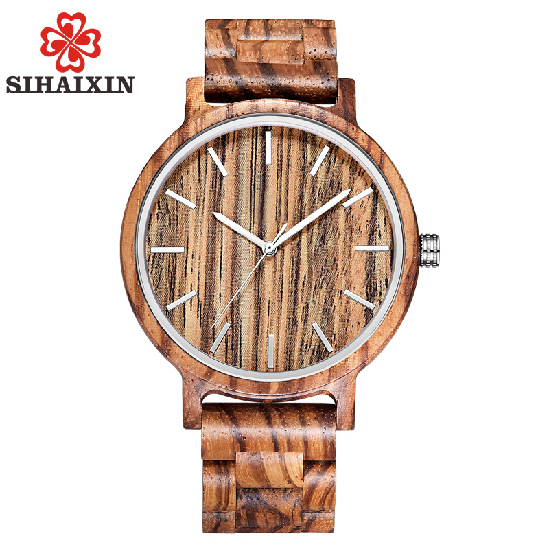 SIHAIXIN Vintage Zebra Wood Watch For Men With All Nature Bamboo Wooden Band Clock Man Quartz for Male as Gift 2018 New Arrival