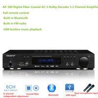 NP 380 5.1 amplifer HIFI Bluetooth home theater audio amplifier Digital fiber coaxial AC 3 decoding USB lossless music play