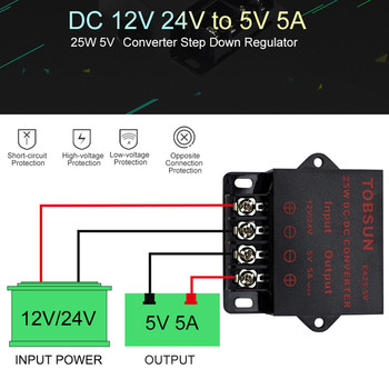 цена на 12V 24V to 5V 5A 25W DC DC Converter Transformer Step Down Buck Module Voltage Reducer Power Supply for LED Strip Switches Solar