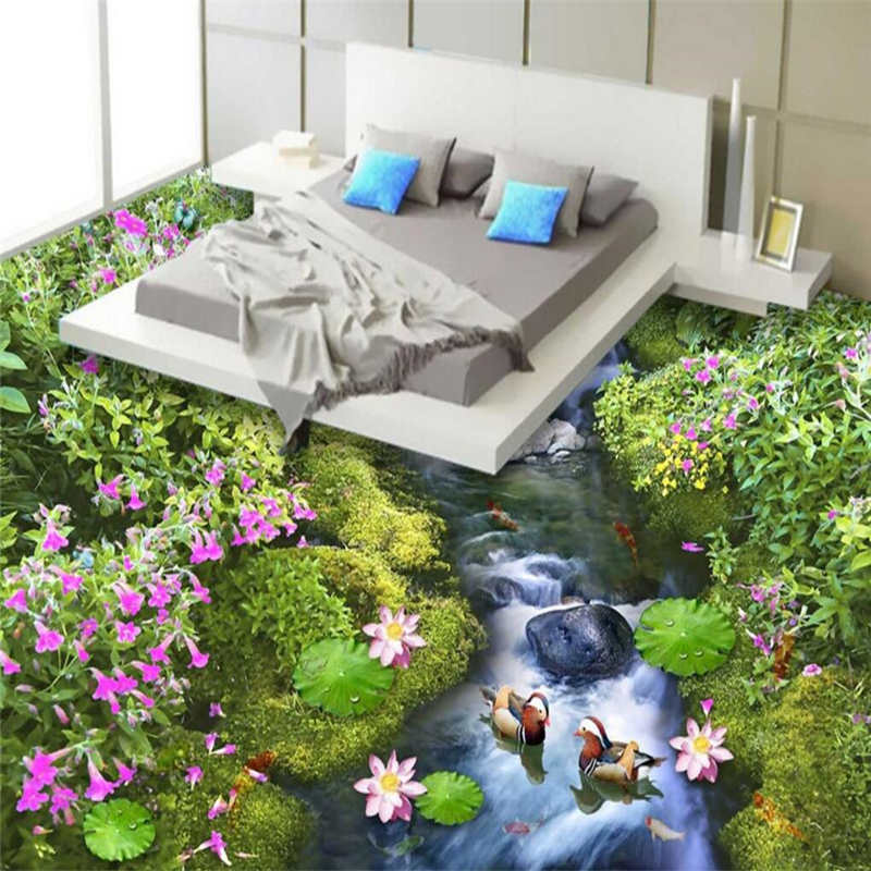beibehang Water Flower Custom papel de parede 3D Photo Wall paper for Living Room Bathroom Floor Self adhesive Mural Wallpaper beibehang custom papel de parede 3d floor wallpaper self adhesive living room bedroom bathroom floor mural photo wall paper roll