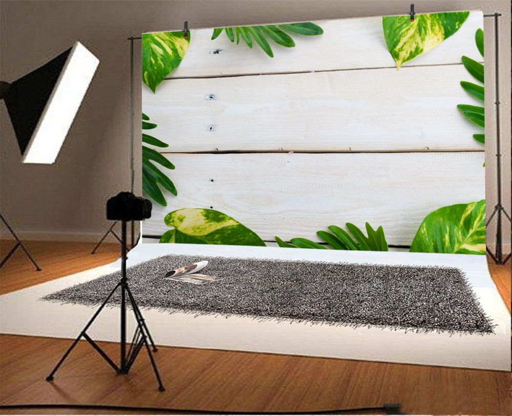 Laeacco Leaf Wooden Board Portrait Scene Baby Children Photography Backdrop Customized Photographic Background For Photo Studio