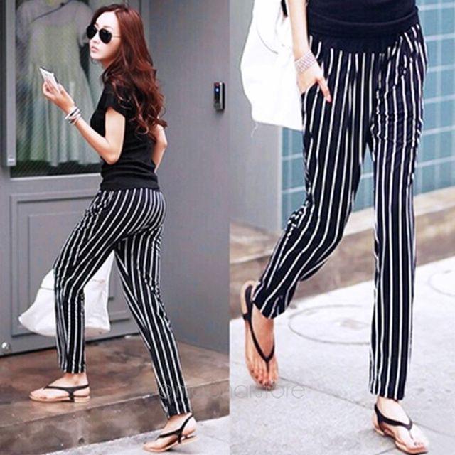 a2e5fde7d7451 Clearance Product Lady's Sexy Capris Girl's leggings white and black stripe  pencil pants Fashion Striped Pants J*E3279