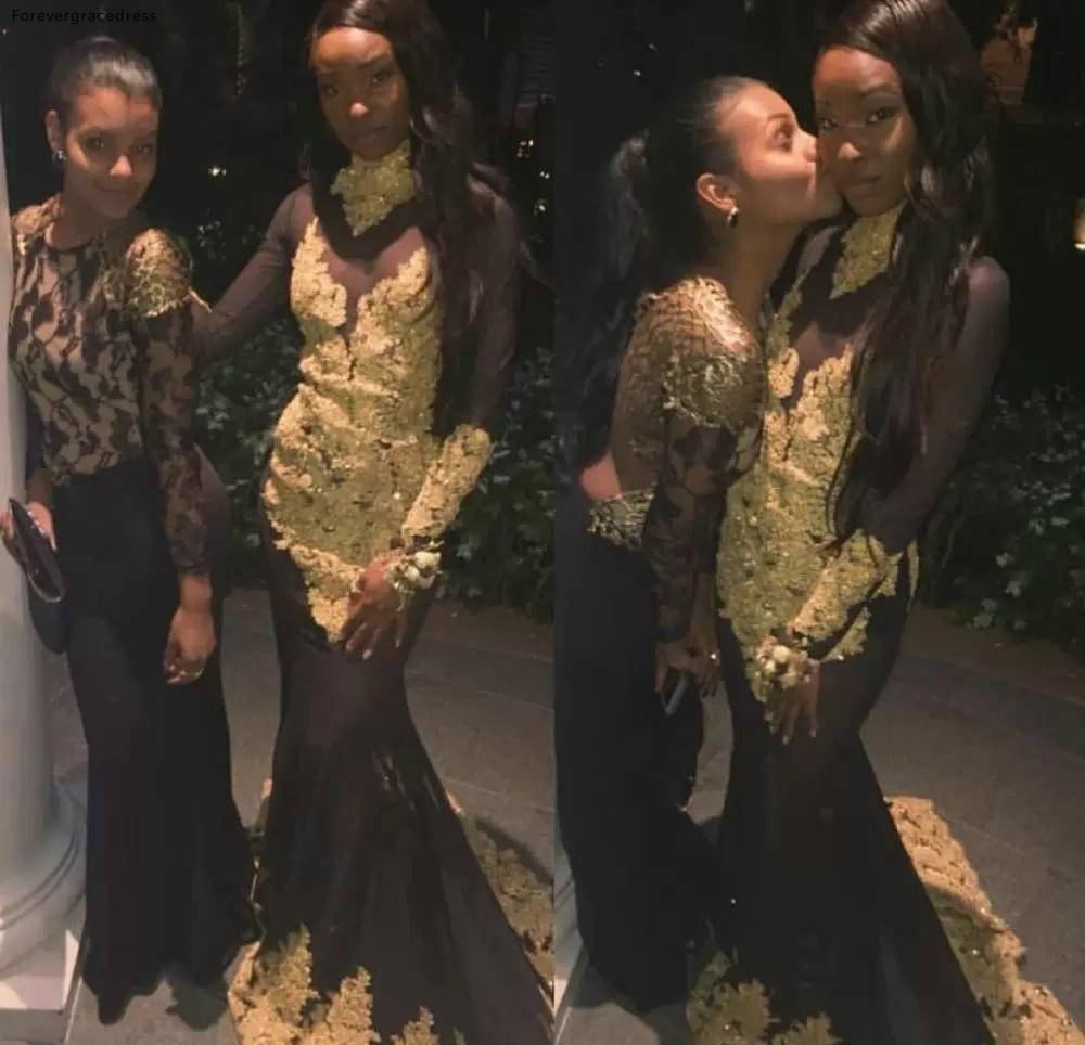 2019 African Black Girls   Prom     Dress   Mermaid Long Sleeves Lace Pageant Holidays Graduation Wear Evening Party Gown Custom Made