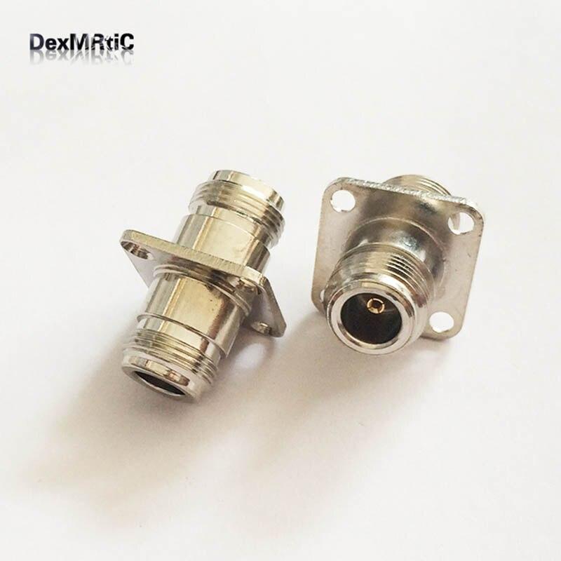 1 шт. N Тип Женский 4 отверстия для крепления на панель фланец RF коаксиальный разъем с адаптером по оптовой цене