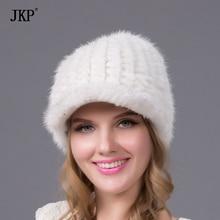 Mink Fur Cap Real Hat Winter Fur Knit Womens Rabbit Fur Pomphorous Hats New Fashion Lady Headdress  BZ-09