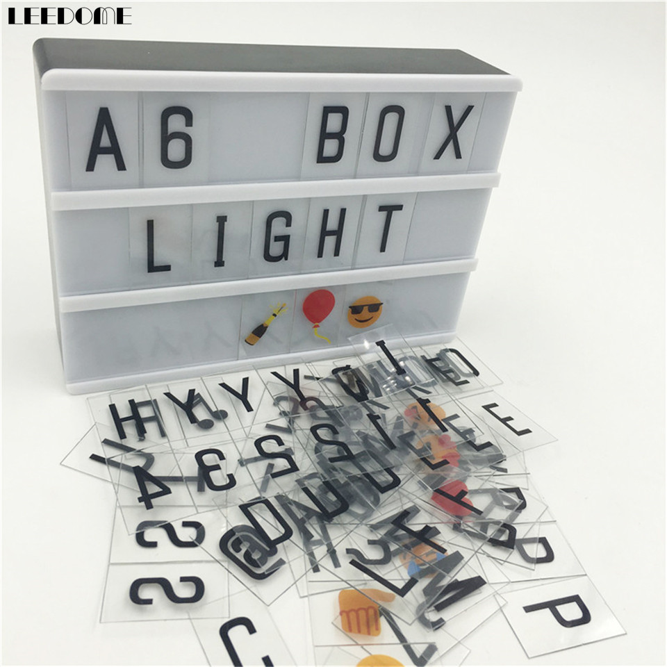 Dropship A6 Size Lightbox As Children Birthday Festival Gift Diy Message Board Luminous Box With Black Letters Numbers Symbols цена 2017