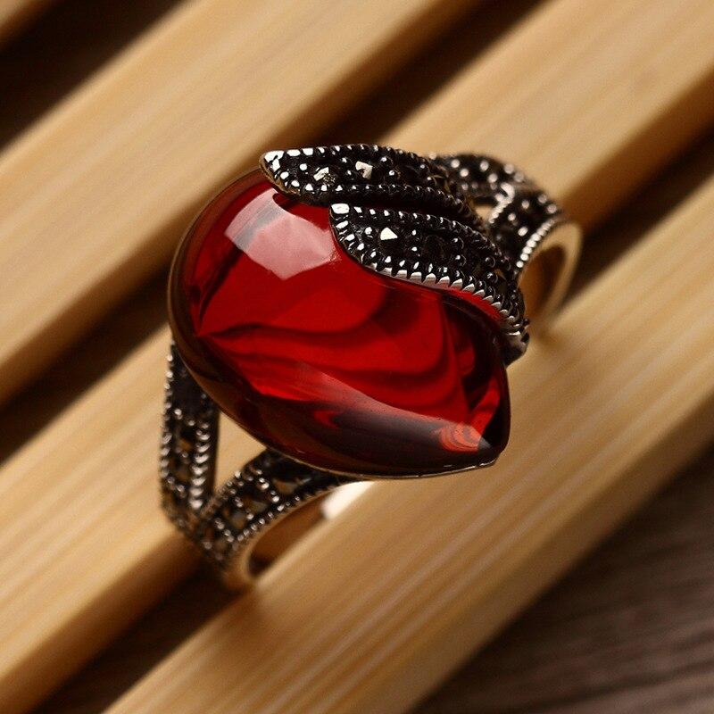 Natural Semi-precious Stones Garnet 925 Sterling Silver Rings Red Corundum Retro Fashion Lady Special Women Jewelry Lovers Gift