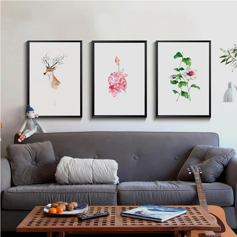 Modern Simple Nordic Watercolor Illustration Flower Deer Cat Abstract Art Poster A4 Canvas Painting Wall Picture Home Decoration