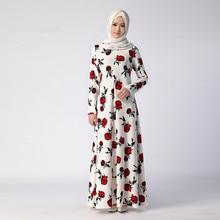 Flowers Printed 2 Colors Muslim Women's Kaftan Islamic Abaya Dress Middle East Arab Women Long-Sleeves Robe Floor-Lenght Dress