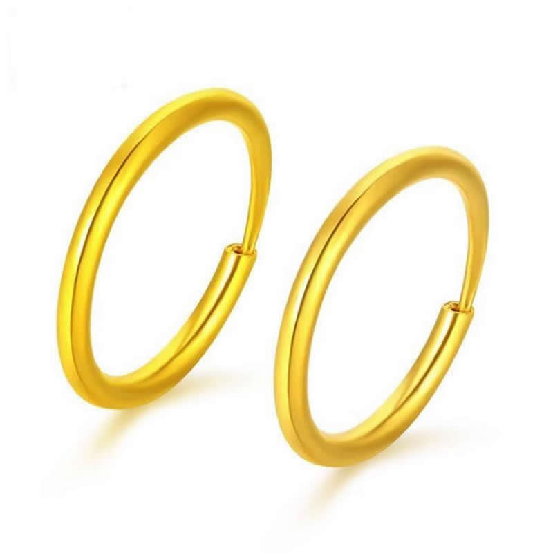 Real Solid 999 24k Yellow Gold Earrings / Little Circle Hoop Earrings / 2 2.2g