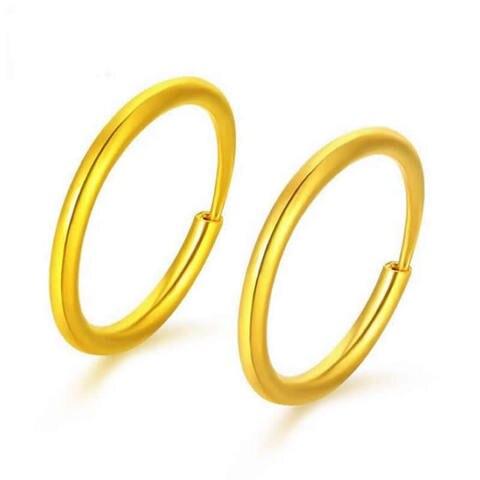 Brincos de Ouro Brincos de Argola Real Sólido Amarelo – Pequeno Círculo 2-2.2g 999 24 k