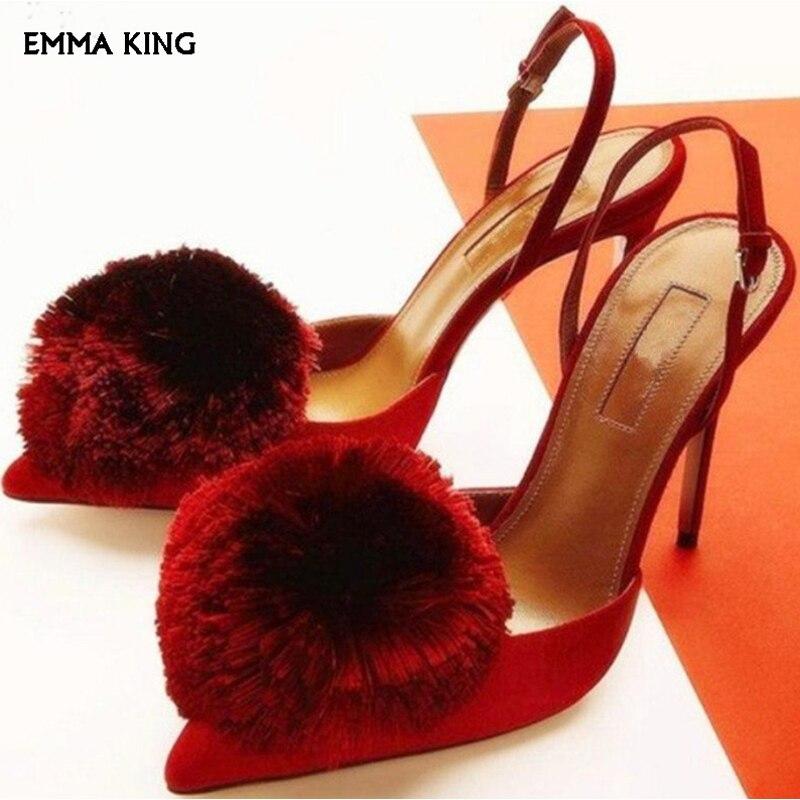 Rouge/bleu fleur Satin poudre Slingback pompes 2019 nouveaux talons hauts sandales femmes bride à la cheville dames chaussures bout pointu chaussures femme