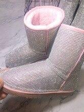 newest pink women flat boots bling beading mid calf  fashion round toe platform fur Inside leisure warm
