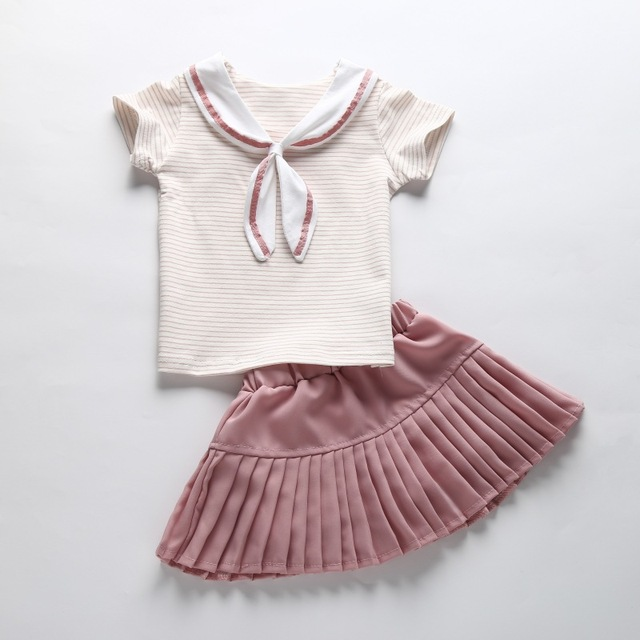 Baby Girls Clothes Sets Sport Suit Navy Style Summer Set 2Pcs Crew Neck Striped Cotton T-shirt + Chiffon Skirt two pieces set