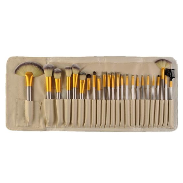 24 Unids Pinceles de Maquillaje Sintético Suave Maquillaje Higiene Amarillento Componen Kits de Cepillo Cepillo de Sombra de Ojos Delineador de Labios Bag + alta Calidad