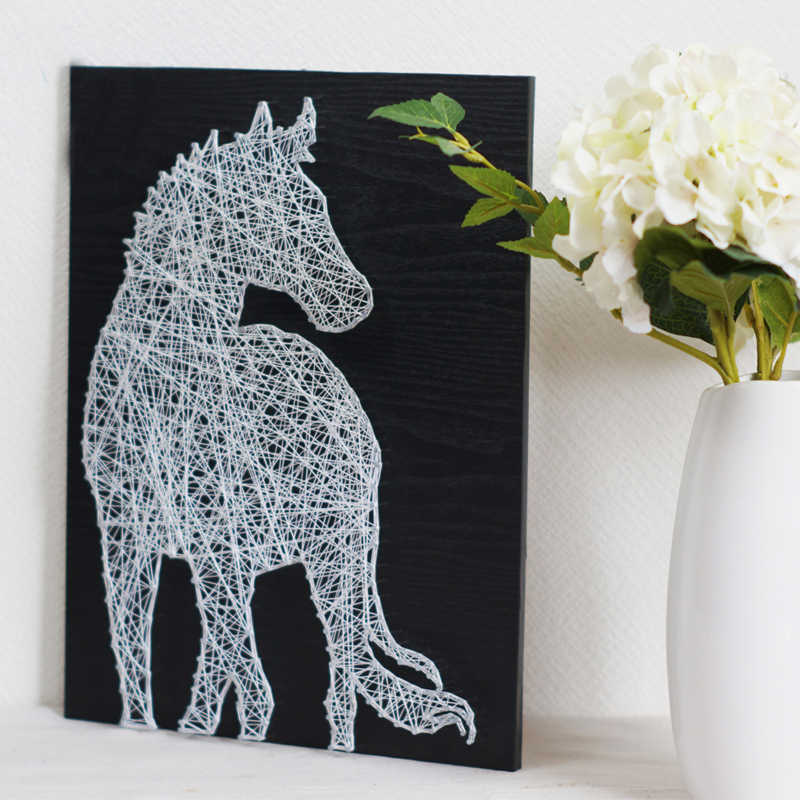 String art DIY kit White Horse 3D Yarn Wall art home decoration interesting gift diamond painting for father mother and friends
