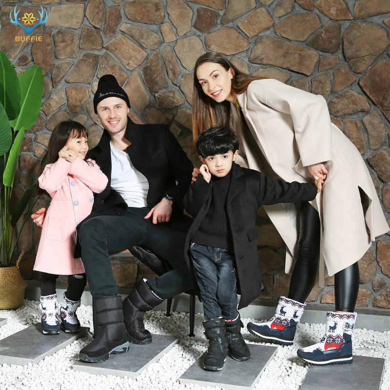 BUFFIE noel geyik kadın kışlık botlar sıcak ayakkabı kar botu % 30% doğal yün astarı inek süet ayak artı boyutu 35-41 JSH-M096
