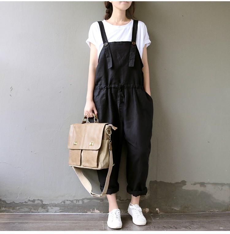 568c721127d2 Casual Black Women Linen Rompers Vintage Loose Female Harem Pants ...