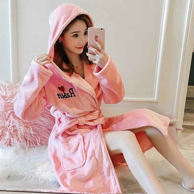 New Female Bathrobe Winter Hooded Embroidery Flannel Bath Robe Women Cute Cartoon Flamingo Rabbit Home Warm Dressing Gown