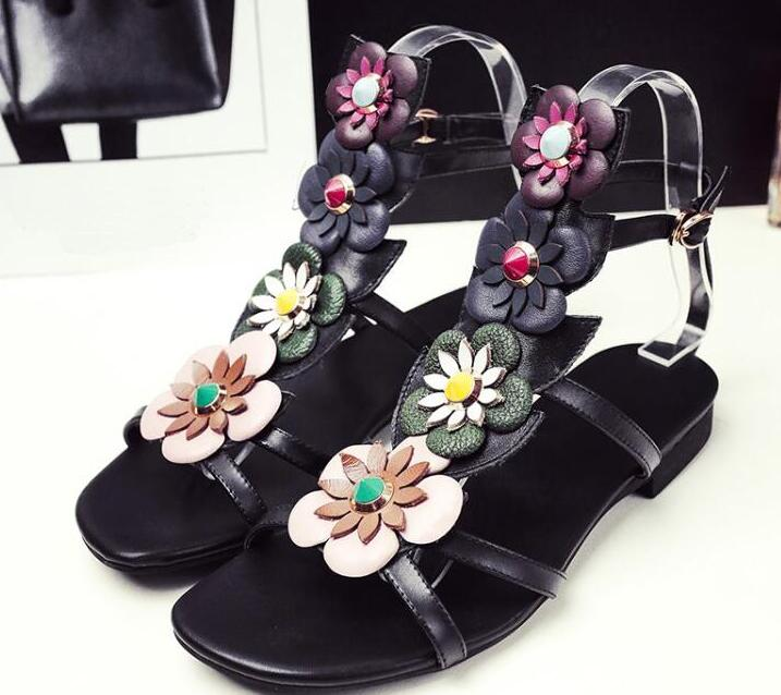 Mixed Colors Flowers Buckles Women T-Straps Flat Sandals Cut Out Style Summer Fashion Ladies Sandals Ankle Buckle Shoes fashion mixed colors print luxury flowers superstar women brand buckle straps platform wedges chinese style summer sandals l27