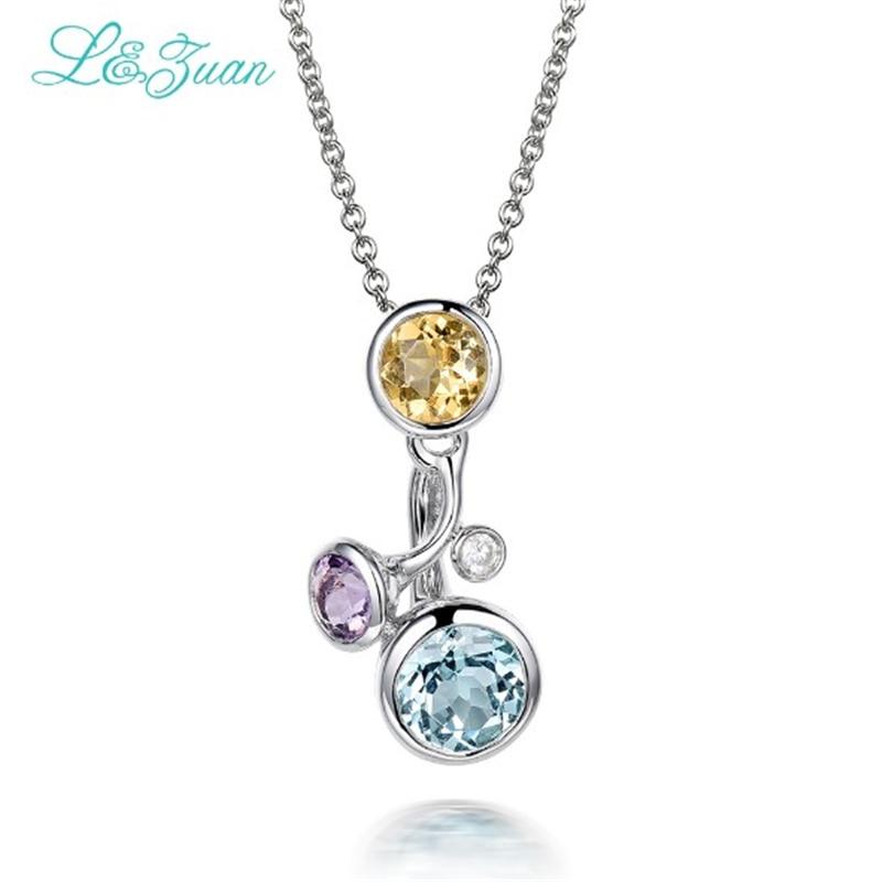 Topaz 925 Silver Womens Pendants Trendy Fine Jewelry 0.832ct Three Round Various Gemstones Sweater Necklaces
