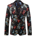 2016 New Men Butterfly Printing Blazers Flower Printed Terno Masculino Mens Floral Blazer T0096