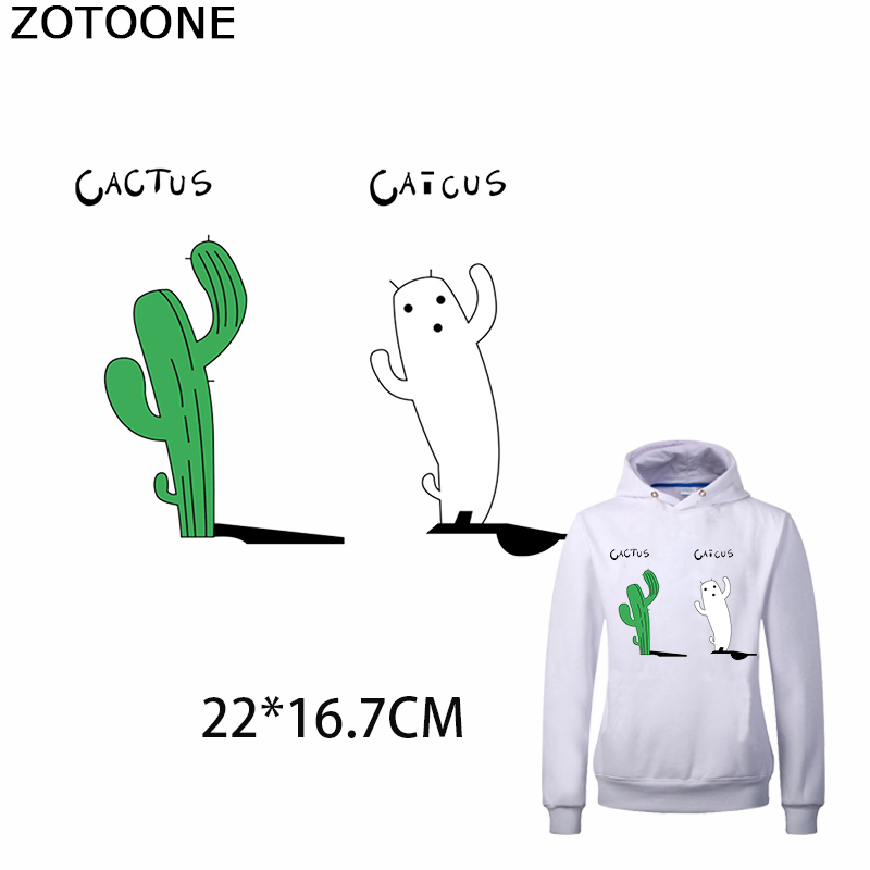 ZOTOONE Cactus Caicus Patches for Clothing Funny Patch Iron on Personality Heat Transfer Appliques Clothes Thermo Stickers E
