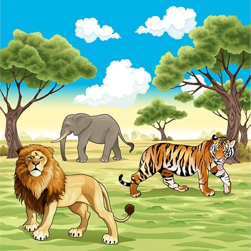 Baby Shower African Jungle Safari Zoo Animals Tiger Elephant photo backdrop Vinyl cloth wall  Backgrounds парфюмированная вода kenzo jungle elephant 100 мл