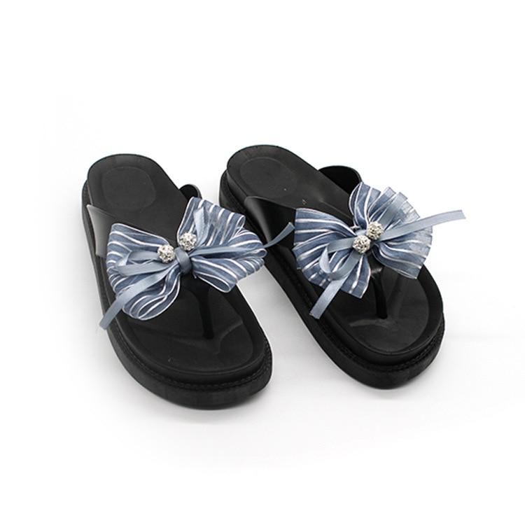 25e3e01be54a75 women bow tie Wedge Platform Flip Flops Woman Shoes 2017 Women Summer  slipper Beach Sandals Ladies Thick High Pantufas