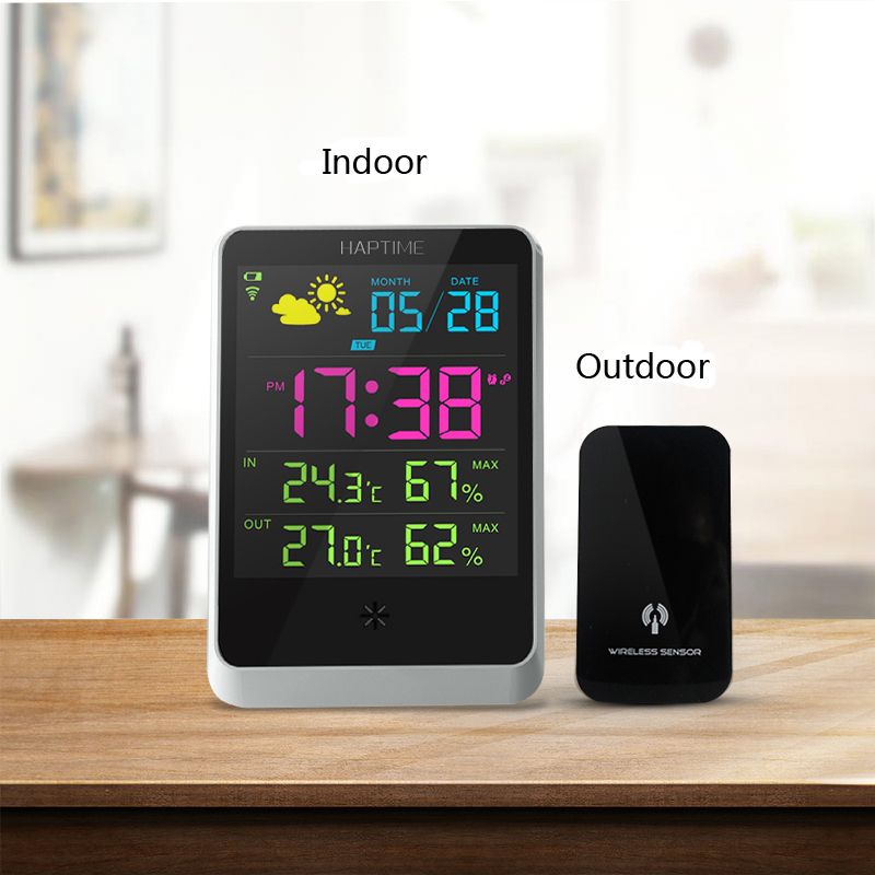 Desktop  Temperature and RH  Monitor  Meter Thermometer  Built-in wifi  Indoor and Outdoor trends forecast weather conditions digital indoor air quality carbon dioxide meter temperature rh humidity twa stel display 99 points made in taiwan co2 monitor