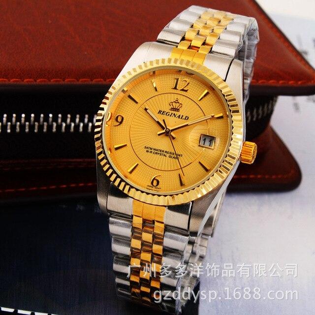 HK corona marca de lujo hombres de moda vestido reloj de oro completo de acero  inoxidable 26797b200483