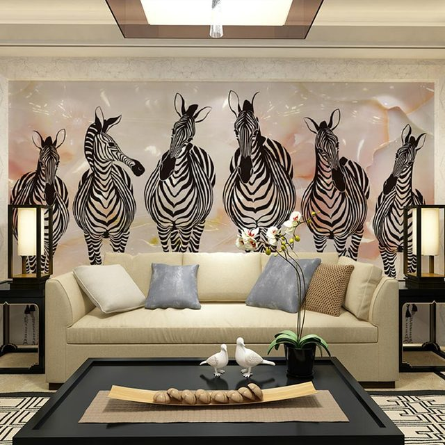 Home Decor Wall Papers 3D Living Room Bedroom Wall Paper Zebra Painting  Photo Wallpaper Mural Self