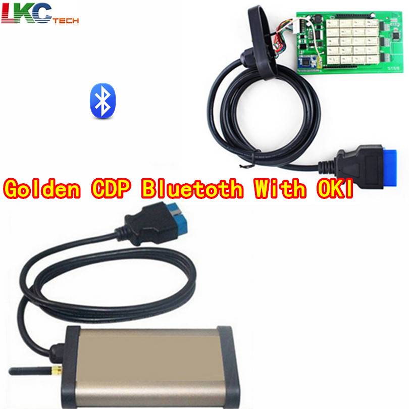 2018 Newly Auto OBD2 Diagnotic gold tcs CDP PRO With OKI Bluetooth(M6636B OKI Chip) 2015R1 Free Actiavte For Cars/Trucks/Generic with bluetooth japen nec relay latest new vci vd tcs cdp pro bt obd2 obdii obd with best pcb chip green single board