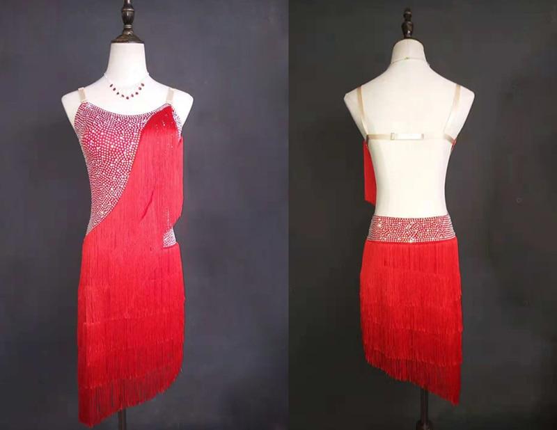 Latin Dance Skirt For Women Sexy Red Tassel Professional Latin Dancing Costume Adult Samba Latin Competition