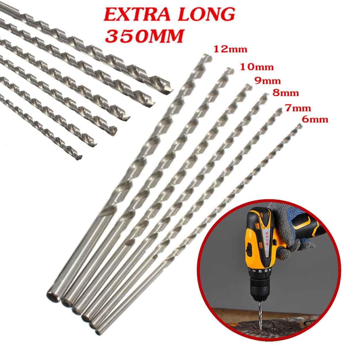 Twist Drill Bit 6/7/8/9/10/12mm Diameter Extra Long HSS Straigth Shank Auger Twist Drill Bit Set 350mm