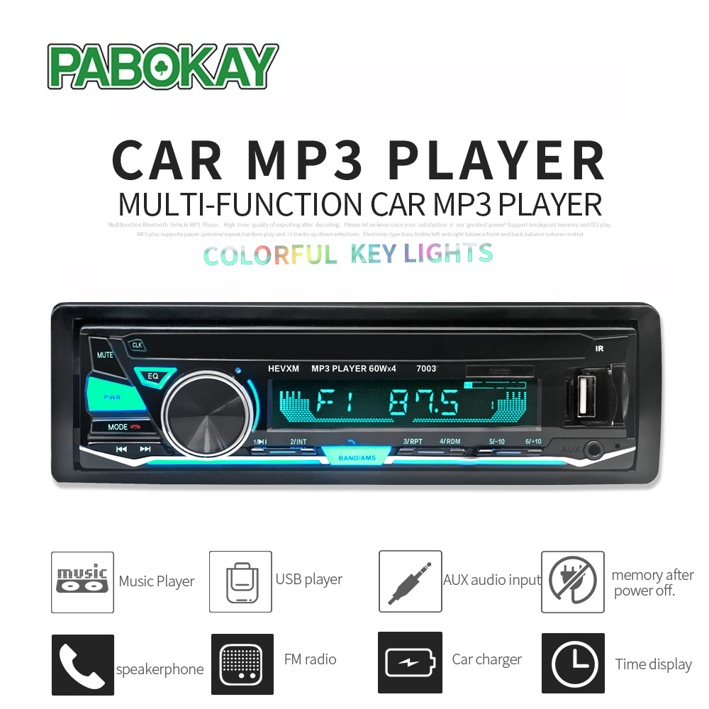 12V Bluetooth3.0+ EDR Vehicle Electronics In-dash <font><b>MP3</b></font> Audio <font><b>Player</b></font> <font><b>Car</b></font> Stereo FM Radio <font><b>with</b></font> <font><b>USB</b></font>/<font><b>SD</b></font>/MMC/TF <font><b>Card</b></font> <font><b>Port</b></font> image
