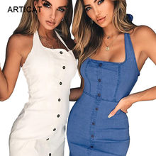 980acaaaf7 Articat Halter Spaghetti Strap Bodycon Dress Women Off Shoulder Backless  Bandage Summer Dress 2018 Sexy Mini Buttons Jeans Dress