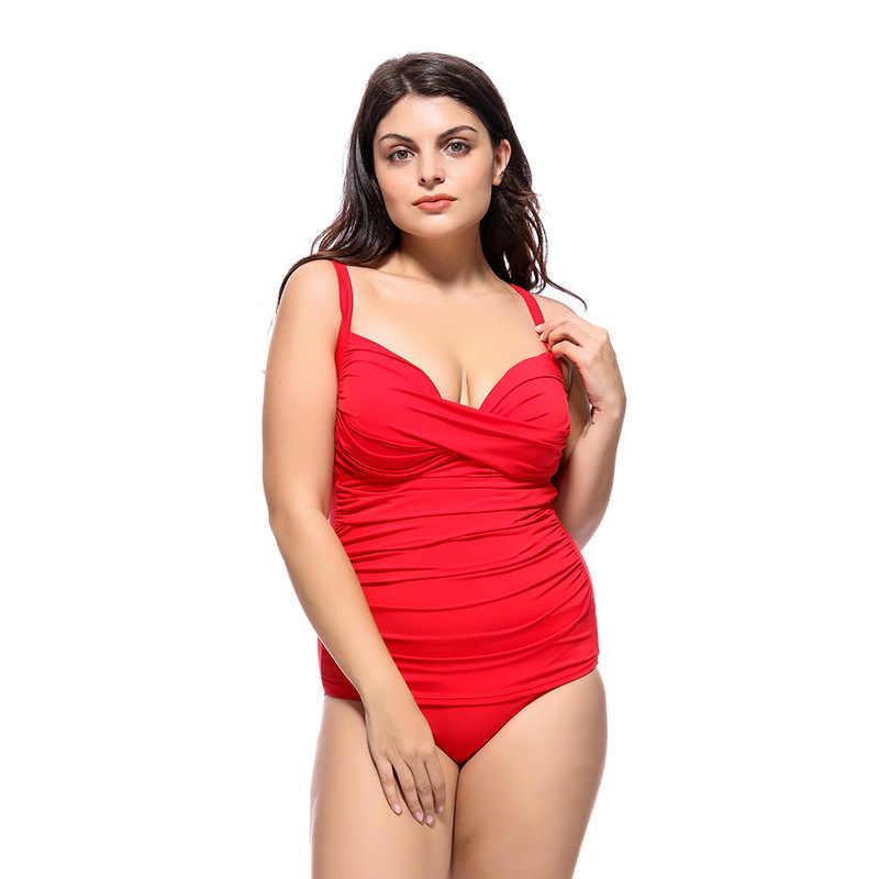 New Plus Ukuran Baju Renang Wanita One Piece Swimsuit Warna Solid Baju Renang Wanita Hamil Pakaian 3XL-6XL Penutup Perut Monokini