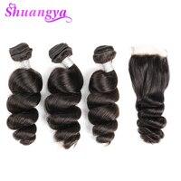 Peruvian Loose Wave Hair Human Hair Bundles With Closure 3/4 Bundles With Closure Shuangya Remy Hair Extension Free Shipping